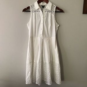 ann taylor petite shirt dress with white lace